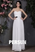 Ruching Sweetheart Organza White Formal Evening Dress