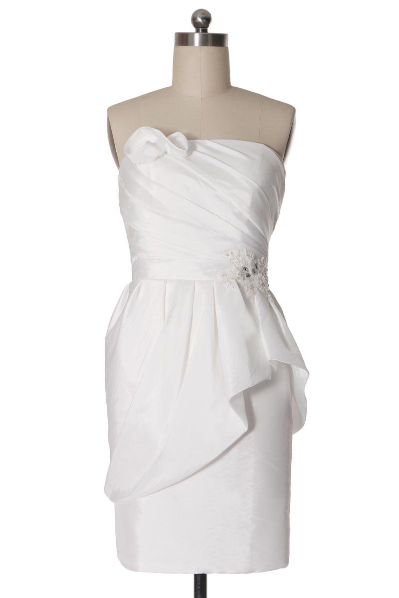 Robe de mariée courte en taffetas sans bretelle
