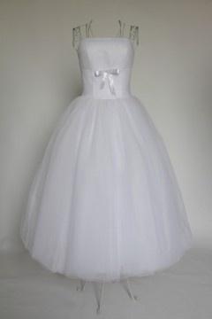 Robe de mariée plissée en tulle bustier droit longue au cheville