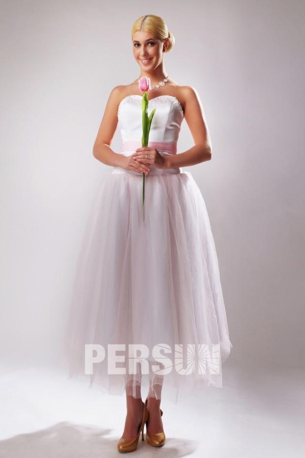 Robe habillée pour témoin mariage au mollet ceinture rose