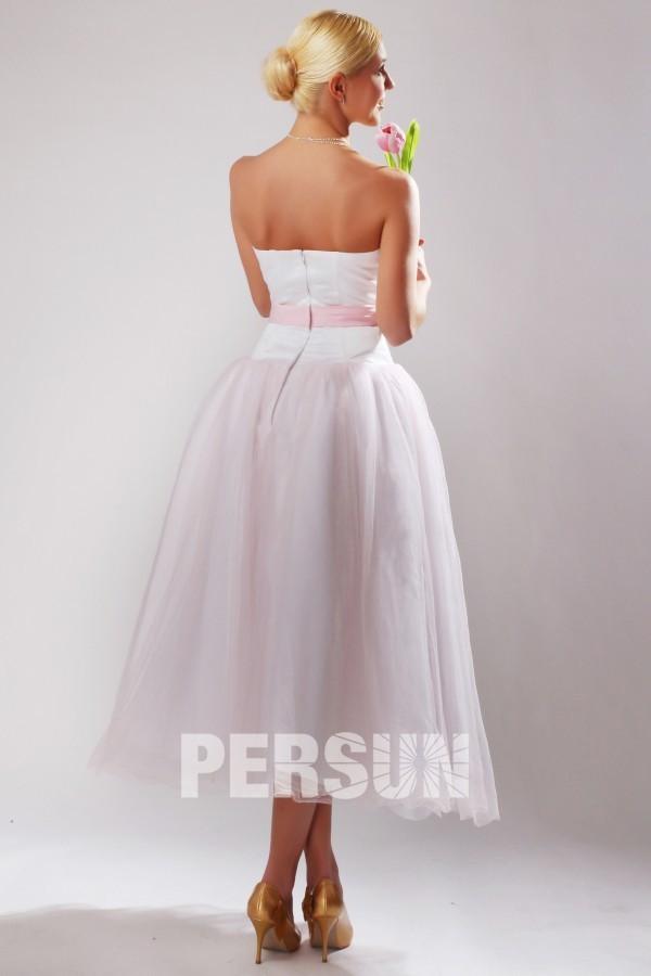 Robe mi longue rose pâle bustier cœur pour cortège mariage