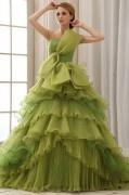 Palais colorié Robe mariée princesse bustier noeud papillon laçage à volants en organza (plusieurs couleurs)