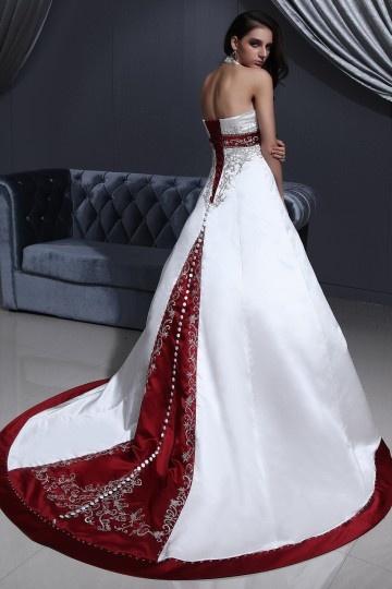 Palais colorié robe de mariée col américain