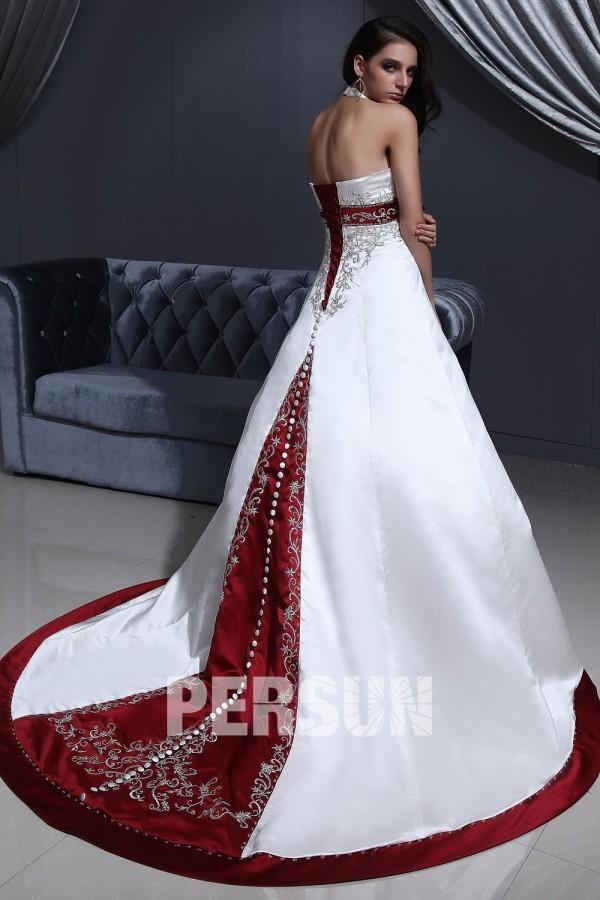 Robe de mariee couleur bordeaux et blanc