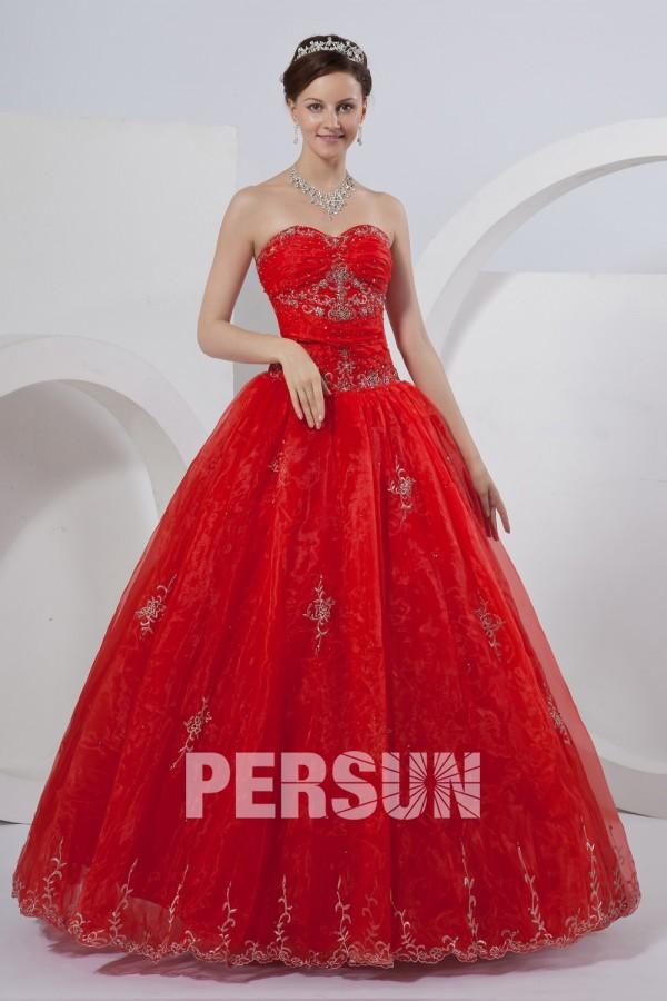 Palais colorié robe de mariée bustier broderie perles paillettes en organza