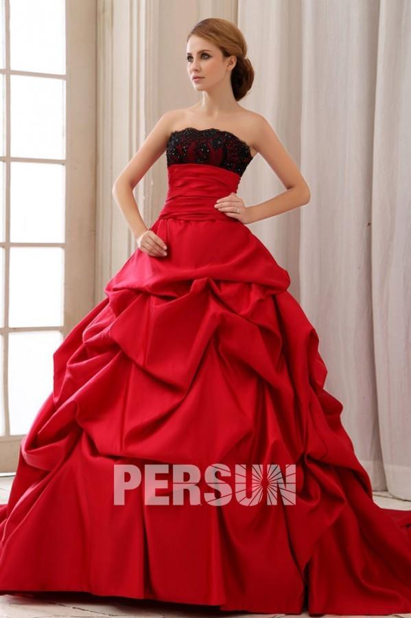 Palais colorié robe de mariée bustier dentelle exquisite ornée de bijoux en satin