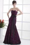 Palais colorié Robe de mariée violette trompette couverte de dentelle noire