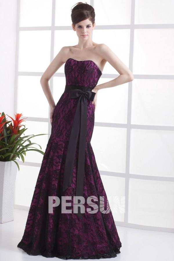 robe de soirée trompette bustier violette couverte de dentelle noire avec ceinture