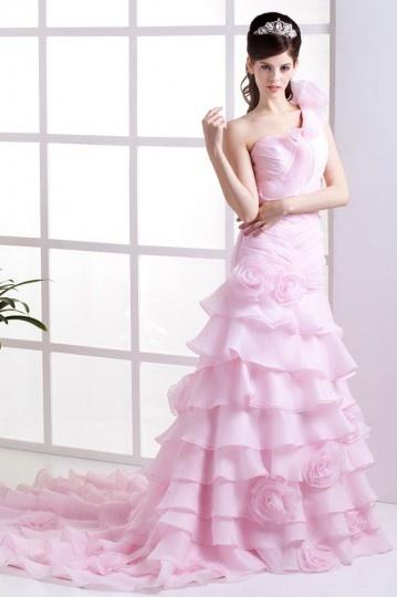 Palais colorié robe de mariée volants fleurs à la main en Mousseline