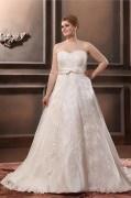 Robe de mariée grande taille à Ligne-A décolleté en coeur sans manches en organza