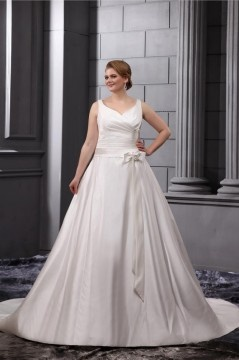 Robe de mariée grande taille simple encolure en V noeud papillion en satin
