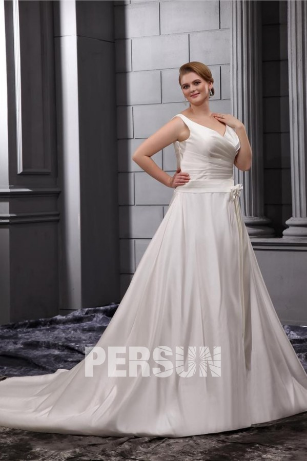 robe mariée simple enveloppé en satin