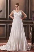 Robe de mariée grande taille empire col en V appliques en satin soyeux