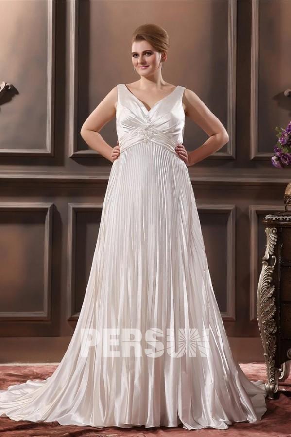 57db5f6415d Robe de mariée grande taille empire col en V appliques en satin soyeux