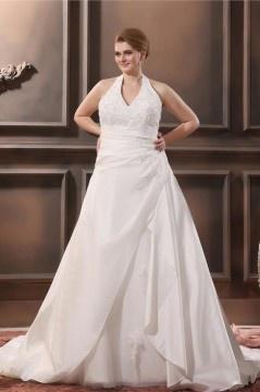 Robe mariée grande taille simple Col américain avec appliques en teffetas et dentelle
