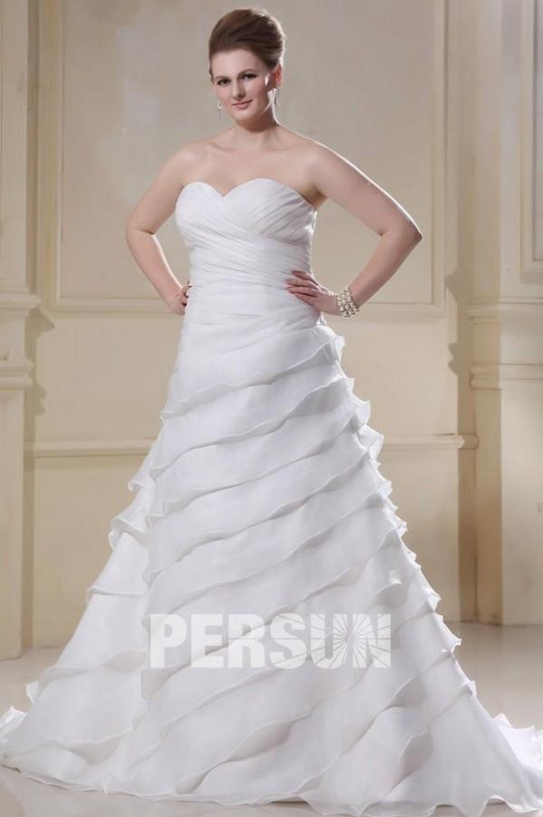51091569382bd Robe mariée grande taille princesse décolleté en coeur laçage volants  gratin à Ligne A en organza