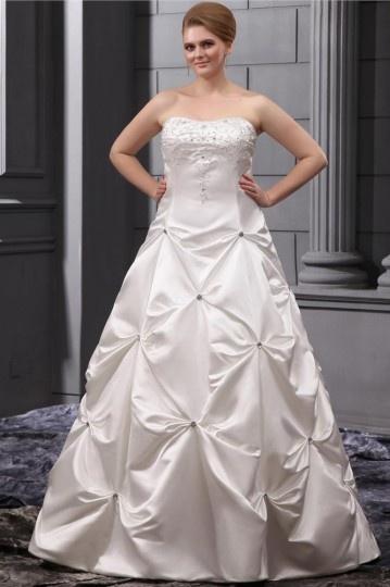 Robe de mariée grande taille bustier Ligne-A broderie en satin