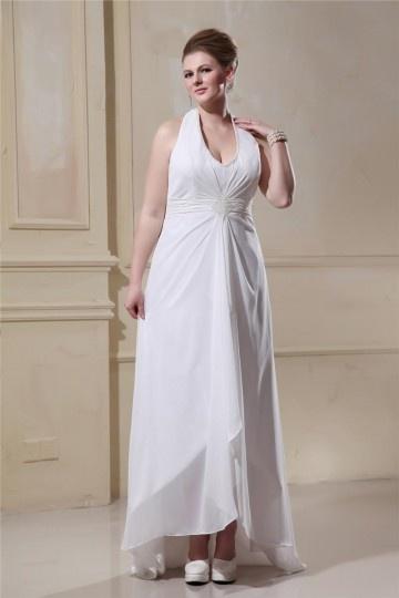 robe de mariée grande taille col américain orné de strass en mousseline