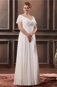 Robe mariée grande taille simple vintage empire encolure en v drapé en Mousseline
