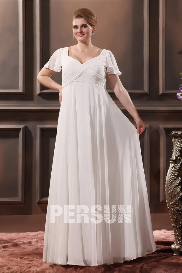 robe mariée grande taille simple empire encolure en v