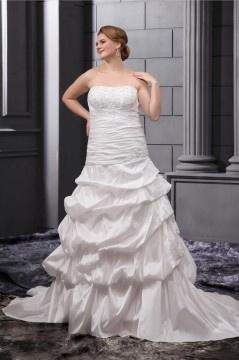 Robe mariée grande taille bustier pailleté jupe ample ornée Ligne A en taffetas avec appliques