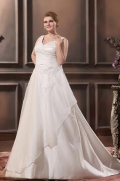 Robe mariée grande taille simple encolure en v sans manche avec appliques en satin et organza