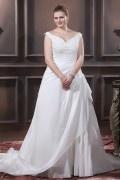Robe de mariée grande taille épaule dégagé ruchée avec appliques en taffetas
