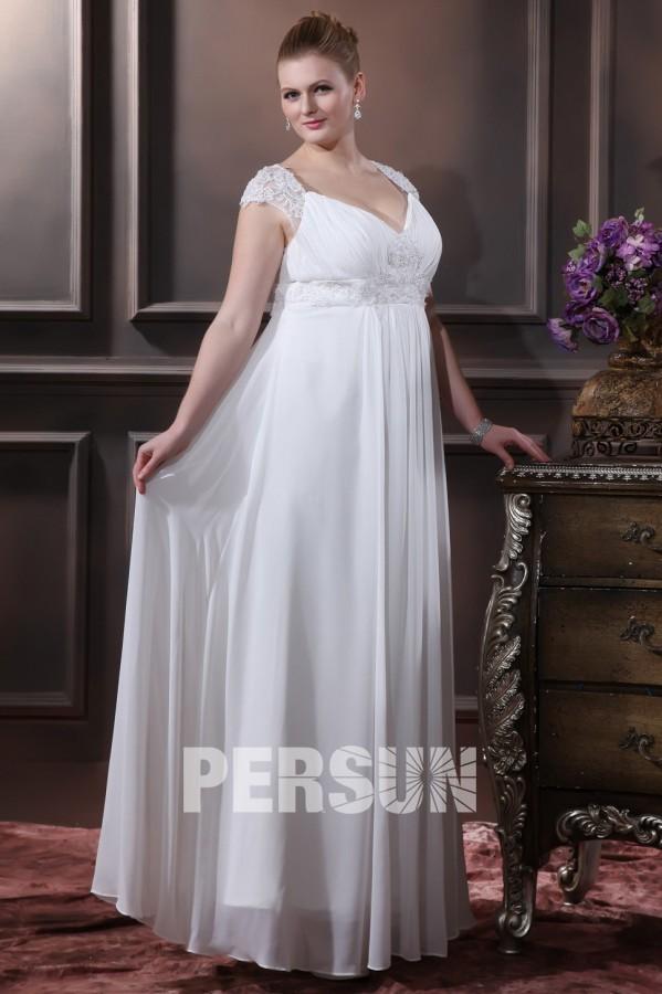 robe mariée grande taille col en V