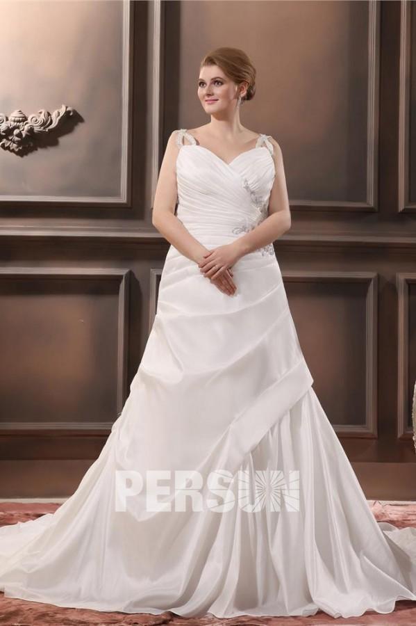 robe de mariée enveloppe trompette bustier plissé col v orée de strass avec traîne chapelle