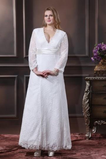robe de mariée grande taille avec manche en dentelle