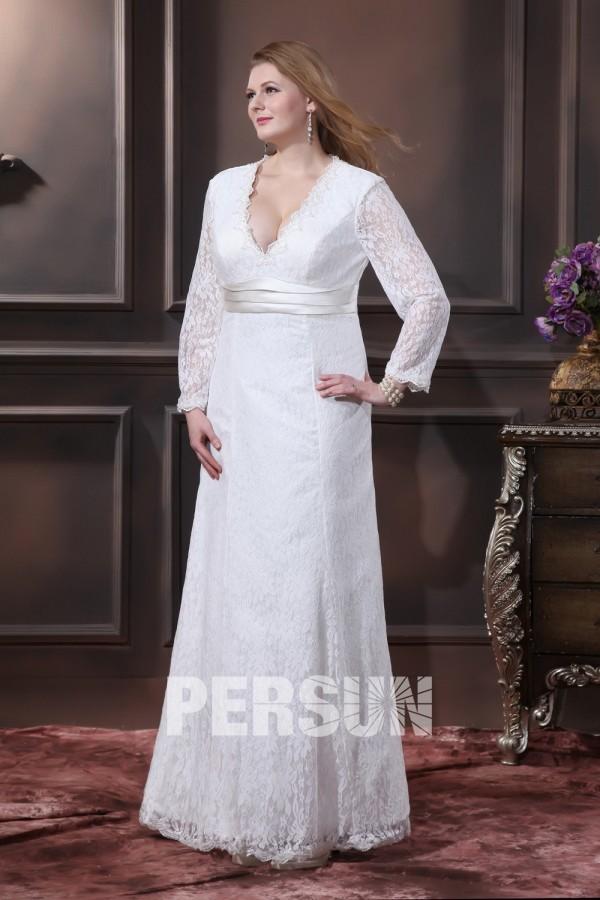 robe mariée grande taille simple dentelle col v avec manche longue