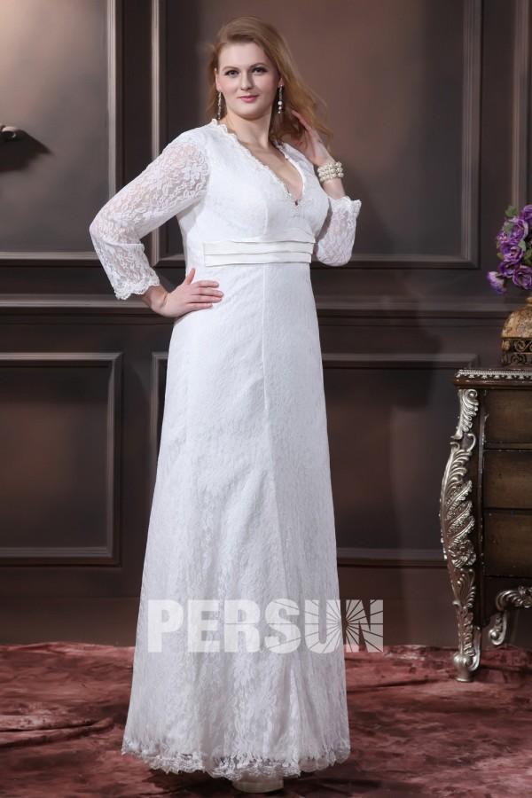 e02ee1ac6046 Robe mariée grande taille simple encolure en v manche longue en dentelle  ruban en satin