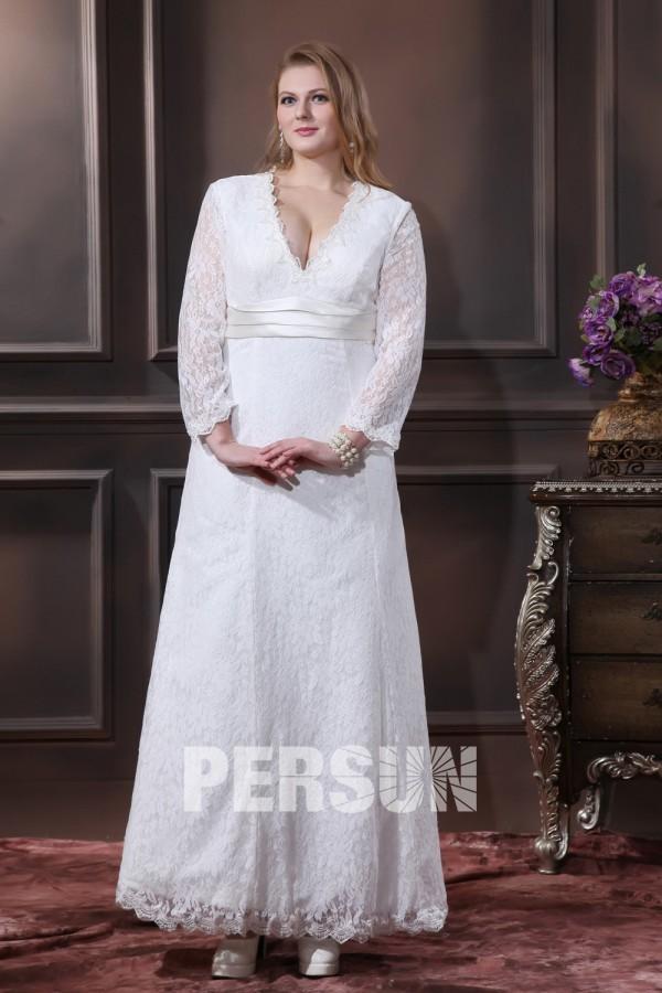 robe mariée grande taille simple en dentelle décolleté v à manche longue