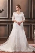 Robe de mariée grande taille col en v manches 3/5 longues en dentelle et tulle