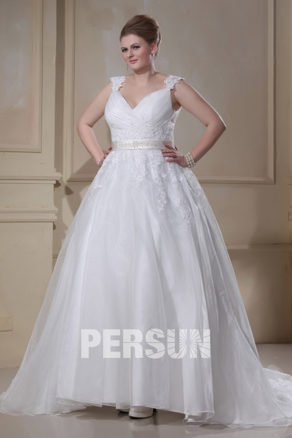 robe mariée grande taille ruchée appliques col en v en organza