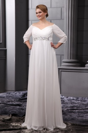 Robe de mariée grande taille rétro manches courtes colonne en mousseline