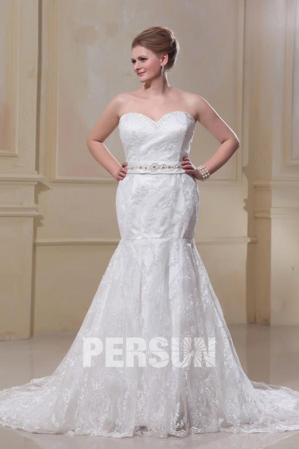 robe de mariée grande taille sirène bustier coeur appliquée de dentelle florale