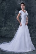 Robe longue de mariée en organza décolleté carré avec manche courte