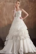 Sweetheart Ruffles Applique Beading Organza Wedding Dress