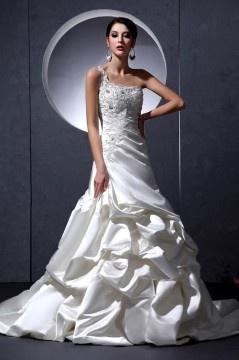Robe de mariée moderne trompette asymétrique en satin ornée de applique