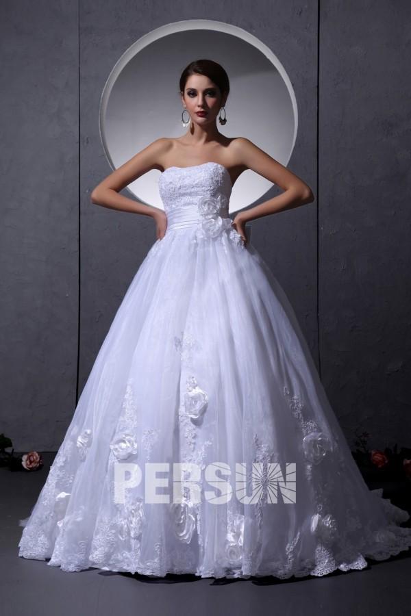 Robe de mariée bustier sans bretelle Empire ornée de fleur faite à la main