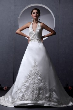 Robe de mariée sexy en satin Ligne A décolleté en V
