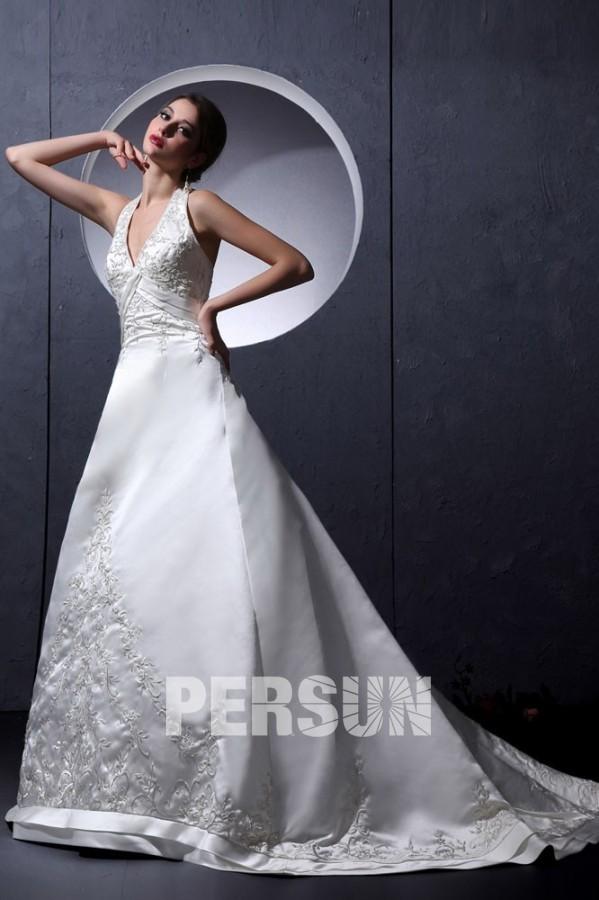 robe de mari e sexy en satin ligne a d collet en v. Black Bedroom Furniture Sets. Home Design Ideas