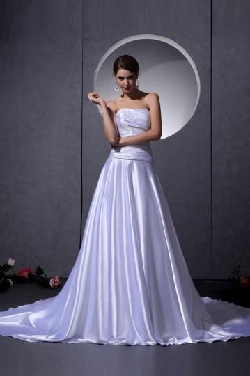 Robe de mariée bustier en satin tissé élastique ornée de ruché Ligne A