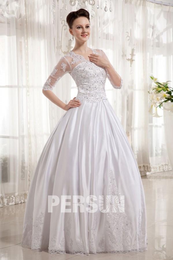 robe de mari e princesse d collet en v avec manche au coude en satin. Black Bedroom Furniture Sets. Home Design Ideas