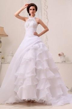 Robe de mariée longue encolure ras de cou Linge A en organza à volant