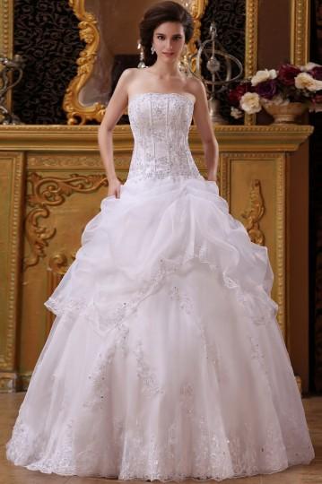 Robe de mariée bustier ornée de applique et paillette en organza