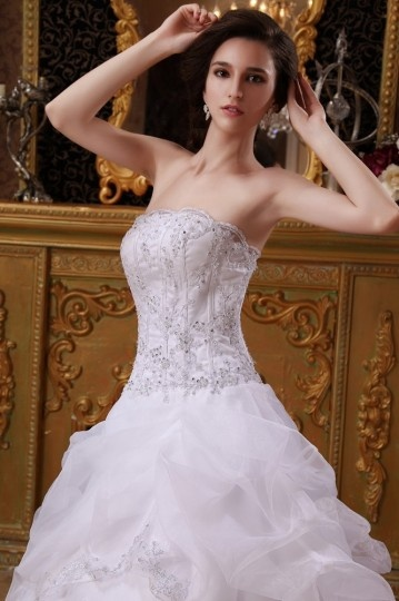 13900849258 Robe de mariée bustier ornée de applique et paillette en organza ...