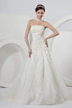 Robe de mariée bustier en organza Ligne A ornée de plissé