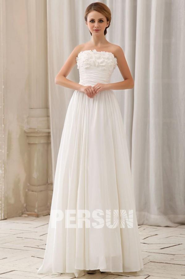 Robe de mariée rétro simple à bustier fleuri